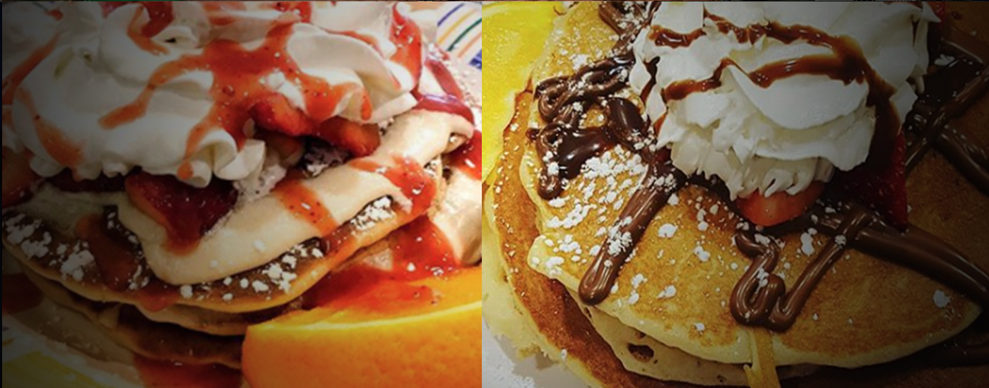 First slide strawberry short pancakes and nutella pancakes