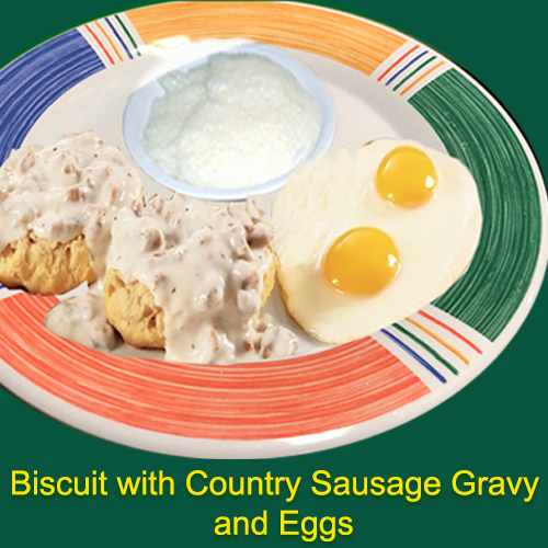 Bisciut with country sausage gravy and eggs