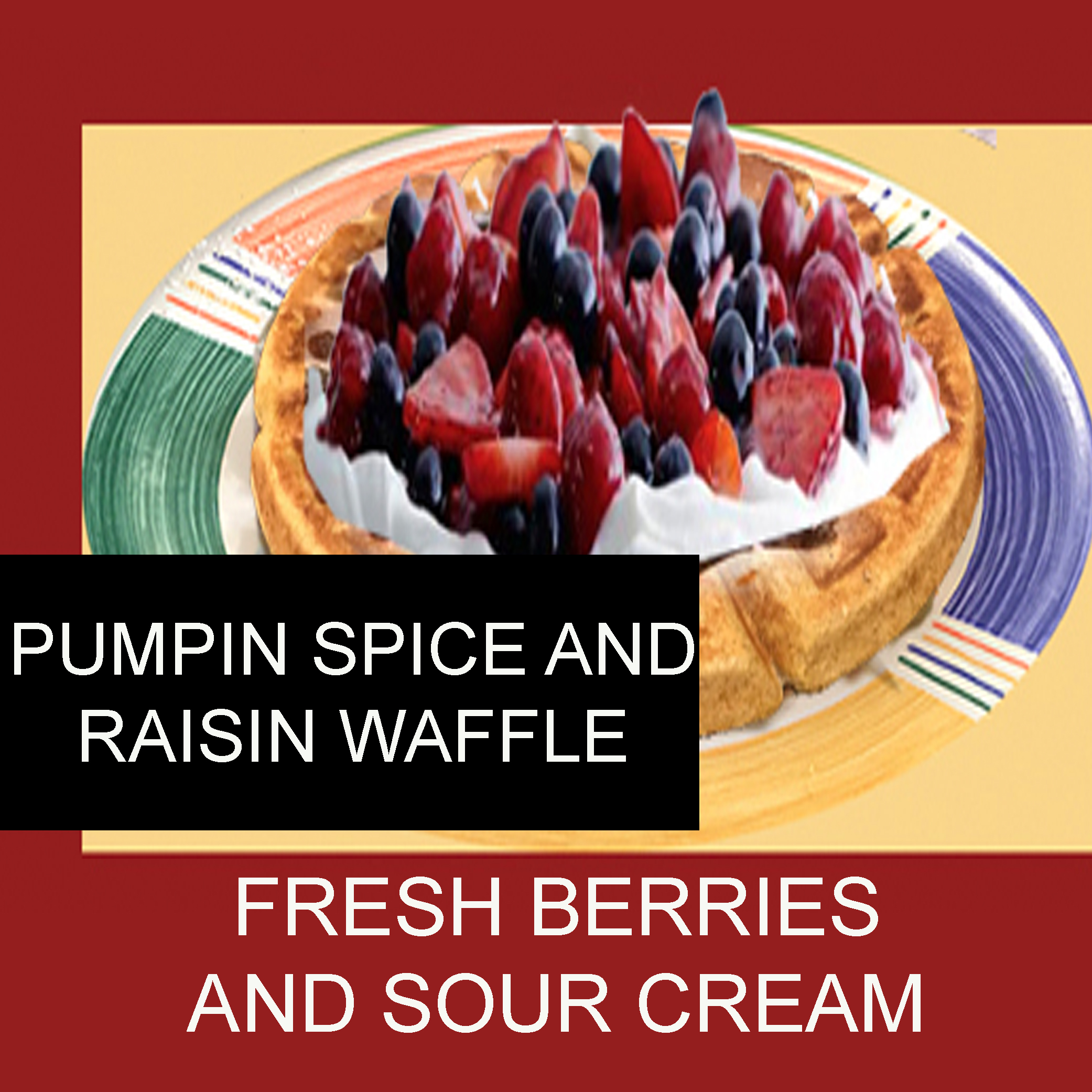 pumkin spice raisin waffle with fresh berries and souer cream