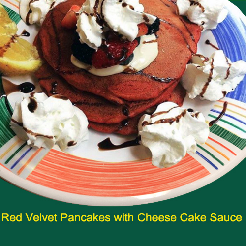 red velvet pancakeswith cheese cake sauce