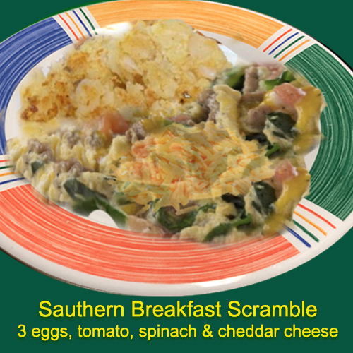 Southern Breakfast Scrable 3 eggs spinach sausage and cheddar cheese