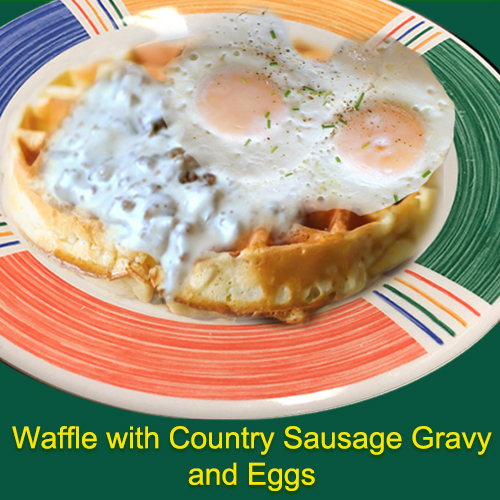 Waffle with Country Sausage garvy and eggs